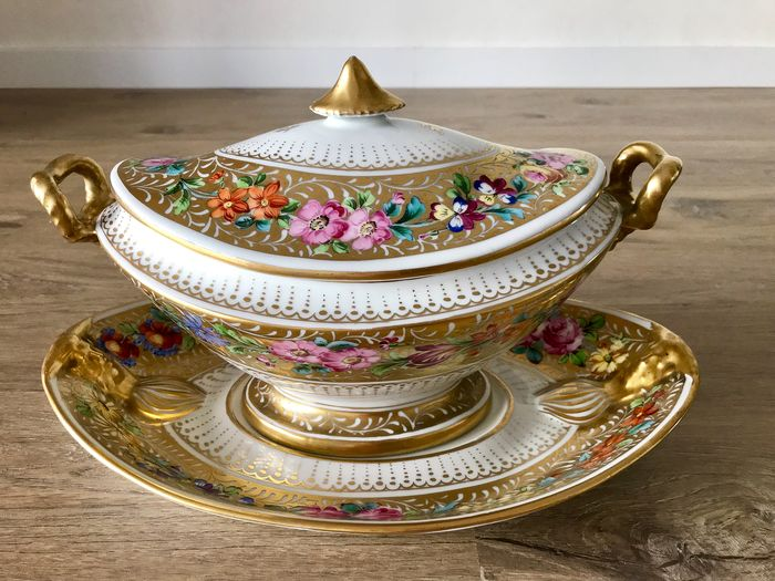 Limoges - Large Tureen Gold 1920 Imperial Style - Porcelain