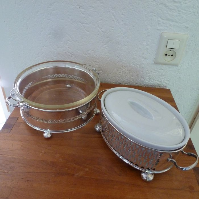 Silver-plated holder + serving dish and silver-plated holder with pâté dish - silver plated, glass and earthenware