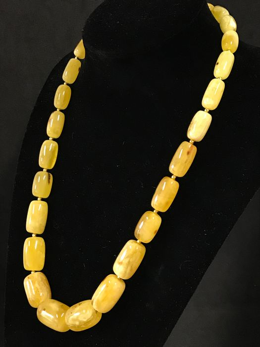 Vintage Opaque Natural Baltic Amber - Barrel Necklace - Natural (untreated)