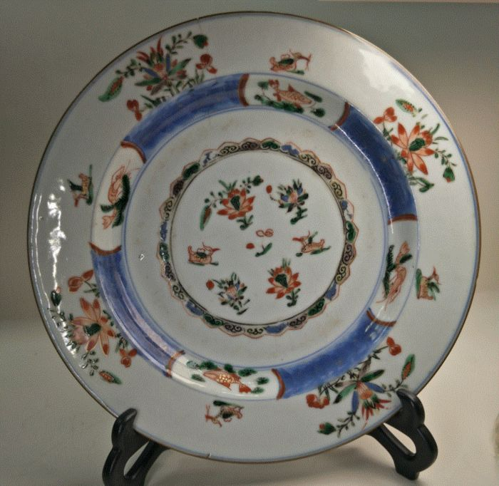 Bord (1) - Porselein - Lotusbloem - Mandarin duck - China - Kangxi (1662-1722)