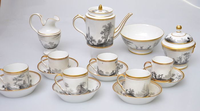 Louis Crette (1788 - 1813) - Bruxelles - Coffee and tea service (16) - Porcelain