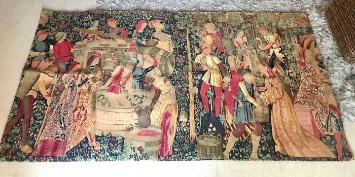 Ancienne gobelin  - beautiful medieval scene tapestry - Cotton, Linen