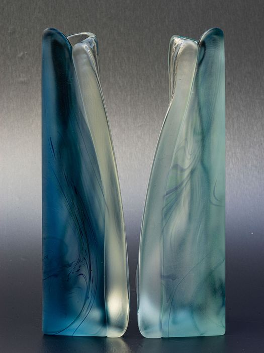 Jizerzke Sklo (Sklo Union) - Two triangular glass objects - Glass