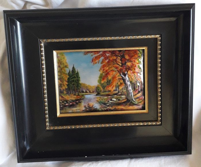 French Limoges Handpainted Enamel Woodland Picture Signed and Framed - Enamel on Copper