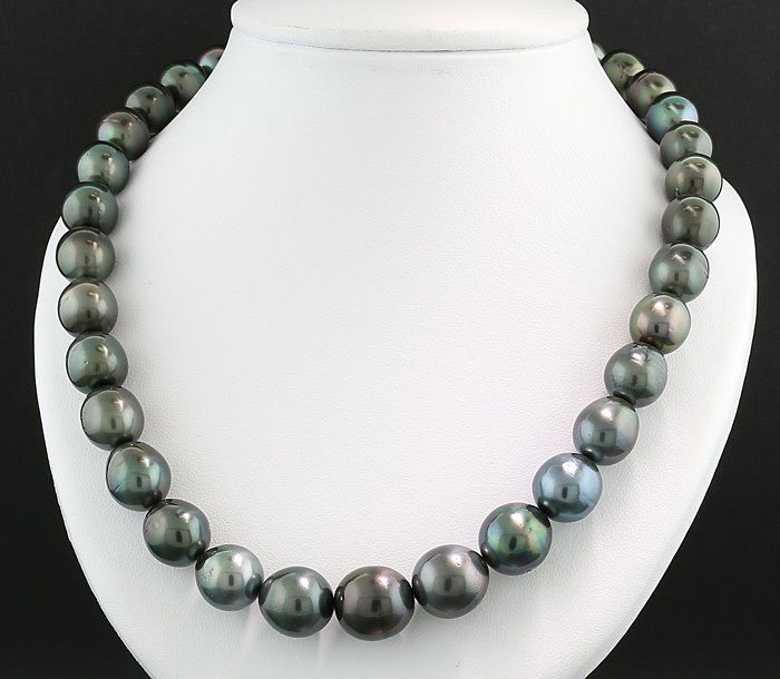 Tahiti pearls - Necklace Anthracite gray Tahitian necklace 11-14 mm NO RESERVE!