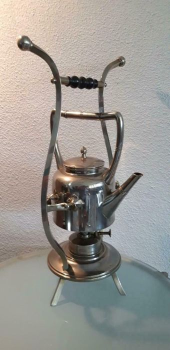 Daalderop KMD - Art Deco Teapot on Burner (1) - Silver tin