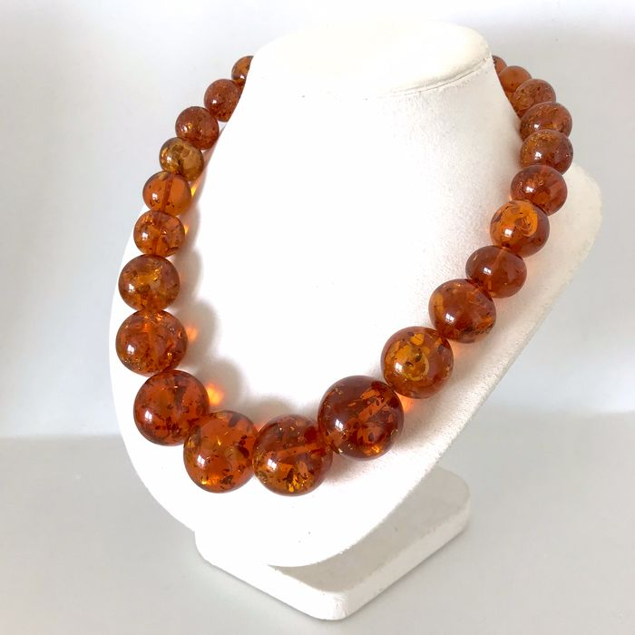 Amber - Bracelet, big beads 144gr - Commonly treated