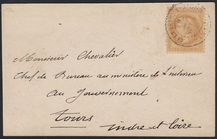 France 1870 - Balloon mail 'Les Etats-Unis' on map from Paris Legislative Corps to Tours