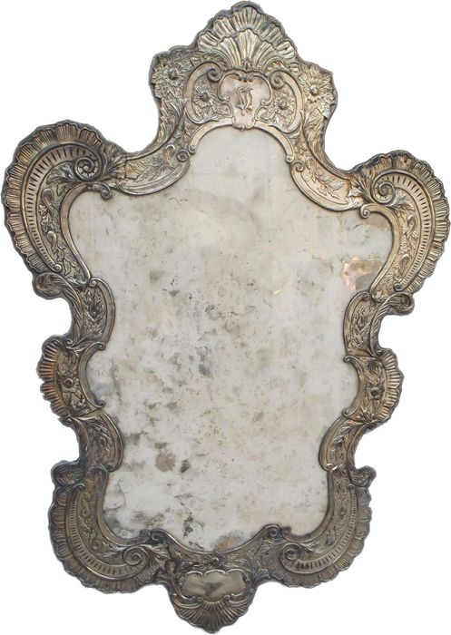 Mirror in the shape of a cartagoria, hand-embossed silver-plated copper, mercury glass