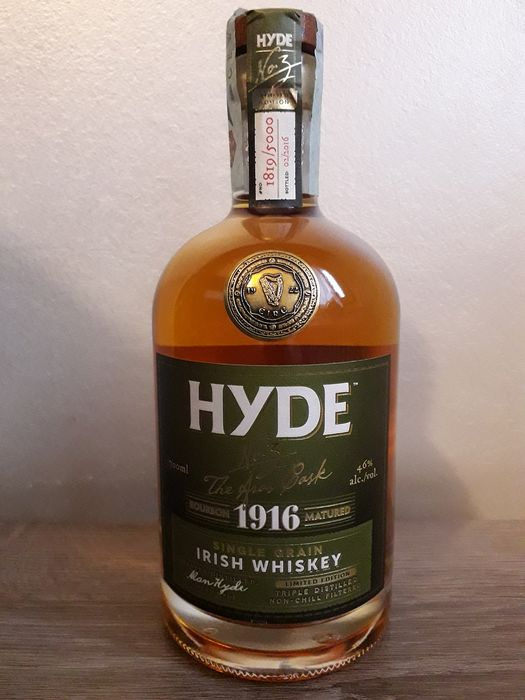"""Hyde 6 years old Single Grain, Limited Edition No. 3, """"The Aras Cask 1916""""  - 70 cl"""