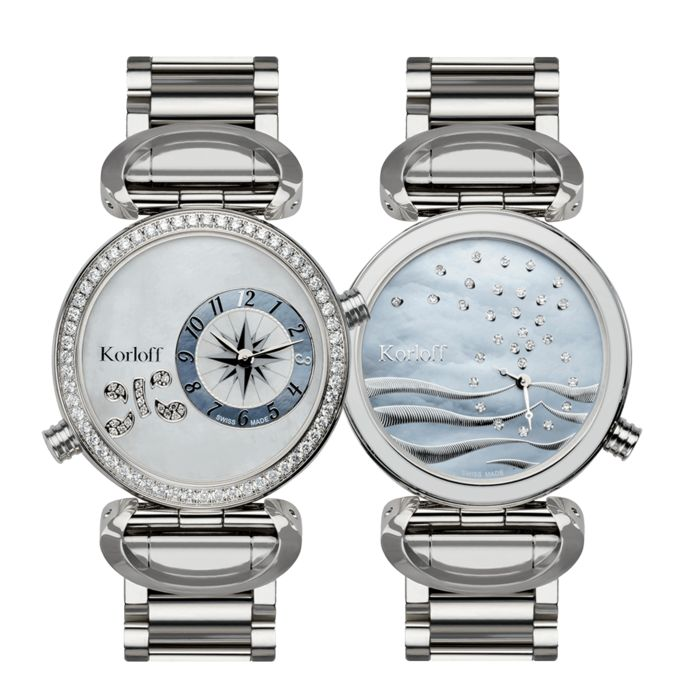 """Korloff - 108 Diamonds for 1,26 Carat Reversible 2 time Zones Mother of Pearl Dial Verso Waves Swiss Made  - LM1D/2BR """"NO RESERVE PRICE"""" - Mujer - BRAND NEW"""