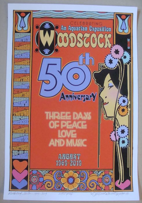 Woodstock & Related - Woodstock Festival 1969 50th Anniversary Beautiful Art Print by David Byrd - Original Lithograph - 2018/2018