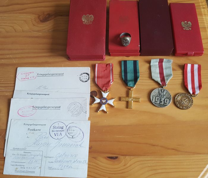 Poland - 4 Polish wartime decorations, letters from prisoner-of-war camps, patriotic silver for sale