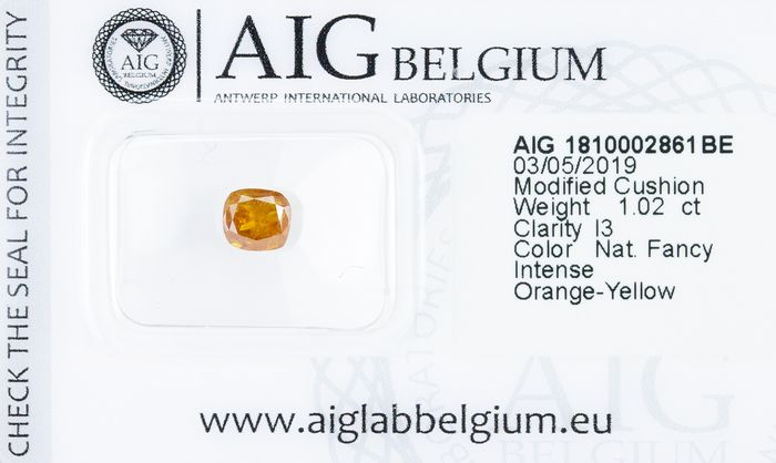 Diamant - 1.02 ct - Naturel Fantaisie INTENSE Orange-Jaune - I3  *NO RESERVE*