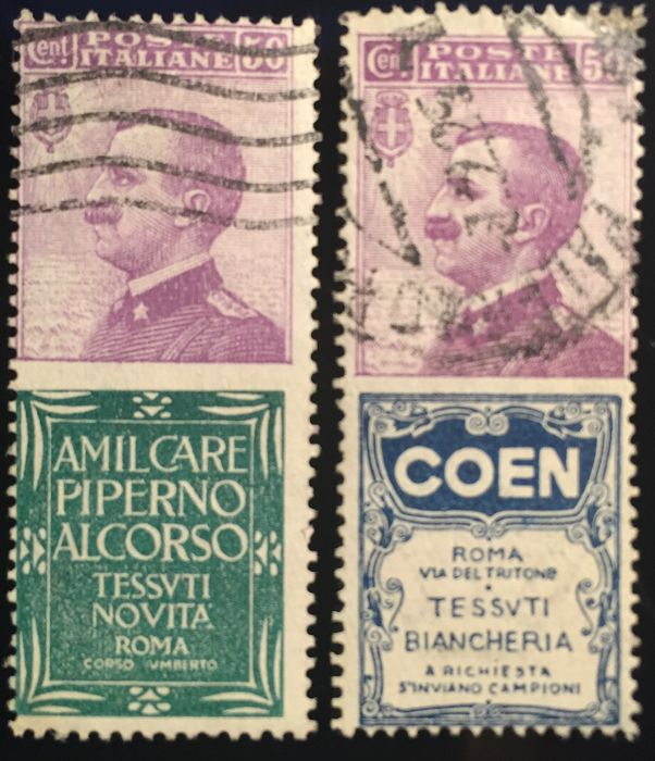 Italy Kingdom 1924 - Advertising stamps 50 cents Piperno and 50 cents Coen - Sassone NN. 6, 10