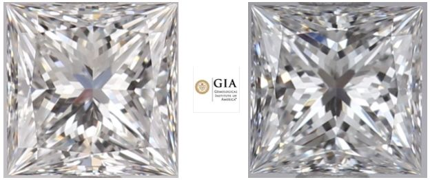 2 pcs Diamonds - 0.46 ct - Princess - F - VS2, VVS2