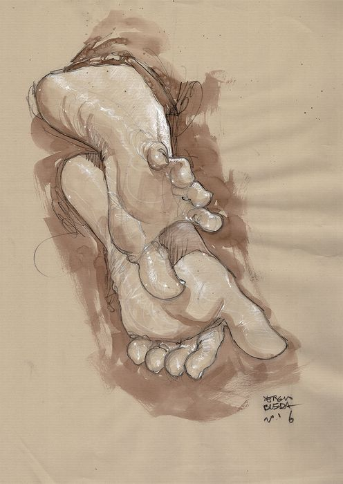 Sergio Bleda - Original Drawing - Foot Fetish - Hand Signed  - Original Art - (2016)