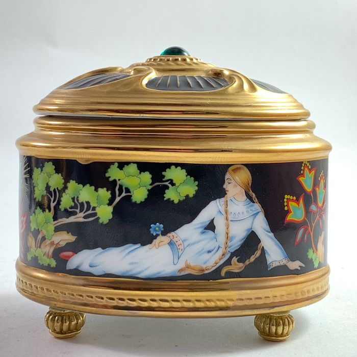 House of Faberge  - The Imperial Music Box Collection - The Stone Hower - Goud, Porselein