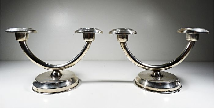 Pair of Sterling Silver Candlesticks Art Deco Style Ornate - Sterling Silver 925 - Portugal - 1930´s