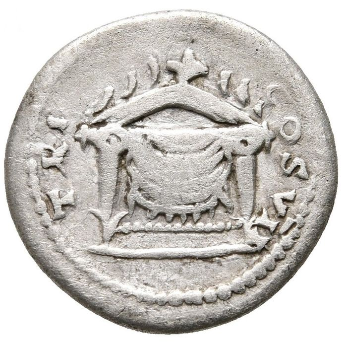 Roman Empire - Denarius - Domitian (81-96 A.D.) Rome mint 81 AD - TR P COS VII, draped throne, back decorated with corn ears - Silver