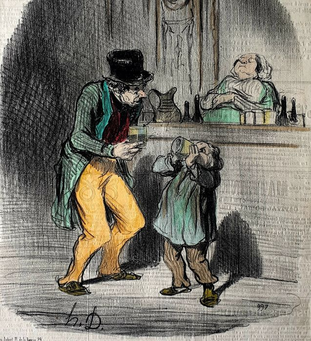 2 prints by Honoré Daumier (1808-1879) - Handcolored - The Dads