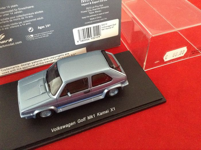 Spark - 1:43 - ref. #S3212 Volkswagen Golf Mk1 Kamei Special X1 1982 - met. light blue - excellent quality model car - limited edition