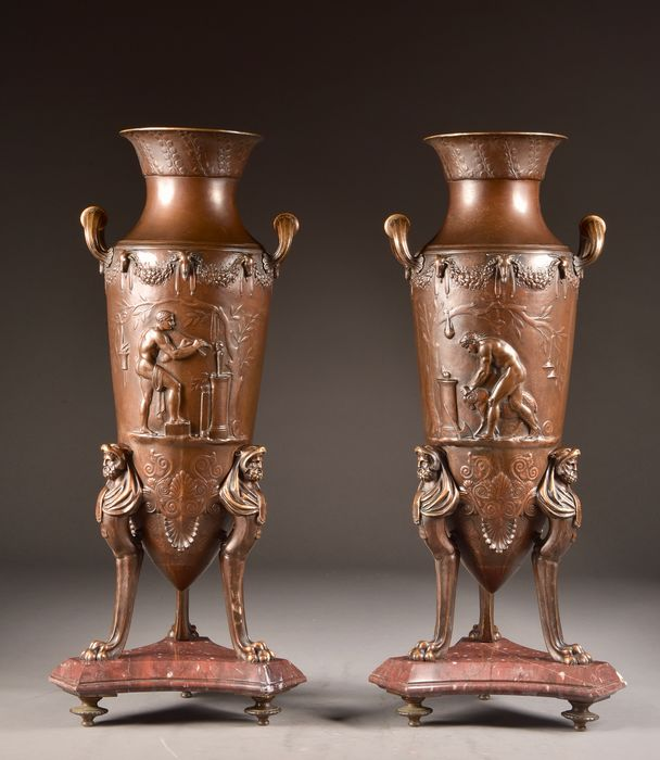 Levillain Ferdinand (1837-1905) - Ferdinand Barbedienne, Foundry - Pair of Greek amphora or Kantharos - representation of Dionysos or Bacchus worship (2) - Neoclassical - Bronze (patinated), Marble - 1871-1878