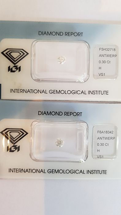 2 pcs Diamanti - 0.60 ct - Brillante - H - VS1