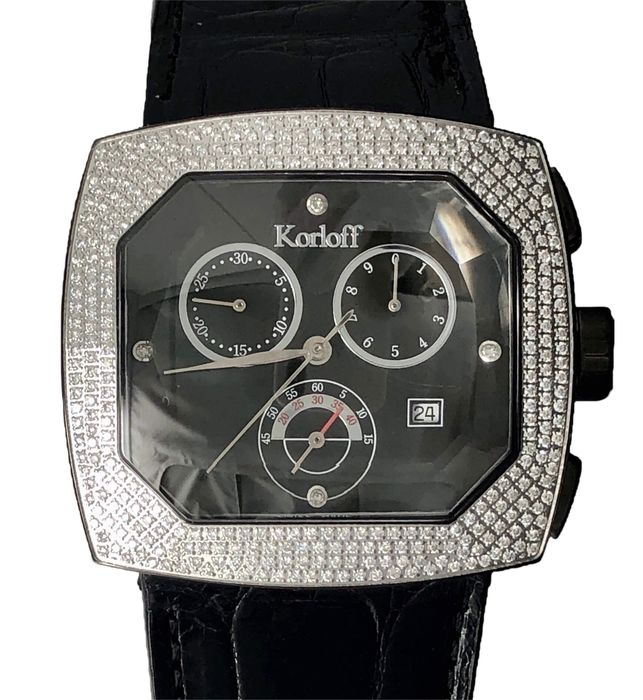 Korloff - Diamonds for 1,50 Carats Chronograph Transparence Black Swiss Made  - TKCB/4 - Unisex - BRAND NEW