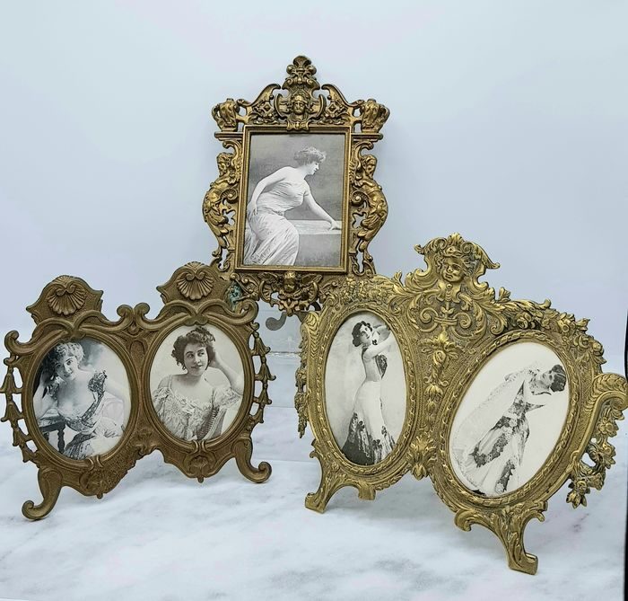 Beautiful Richly Decorated Photo Frames (3) - Copper - Ca: 1875/1900