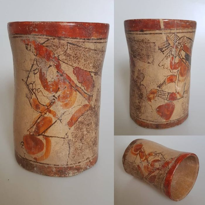 Mayan Cylinder Vase, 2 Seated Rulers, 650-800 AD - Terracota - Maya culture - Mexico