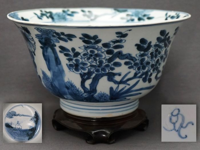 Bowl - Porcelain - Large - Hare, rocks with plum blossom, chrysanthemum and birds - Marked conch - China - Kangxi (1662-1722)