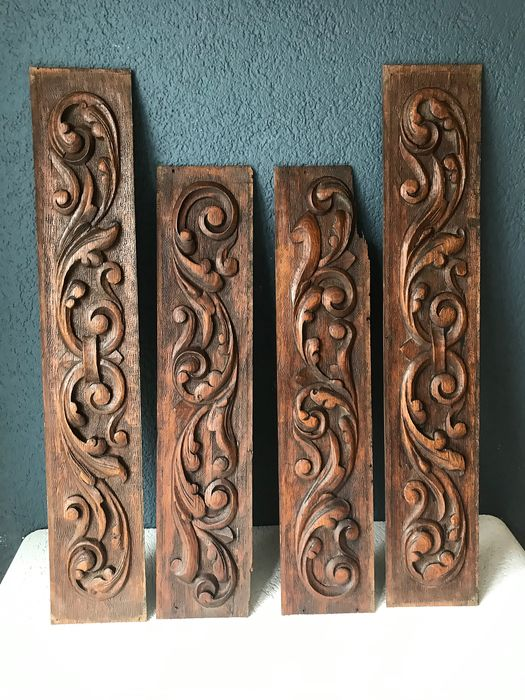 Wood carving Panels (4) - Oak - about 1880