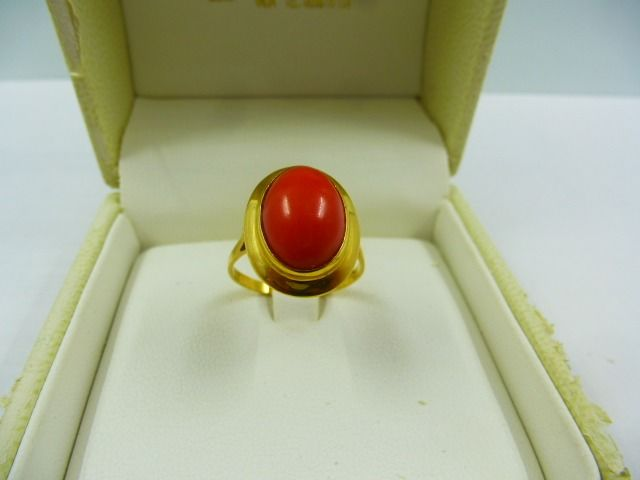 18 kt. Yellow gold - Ring Sardinian coral