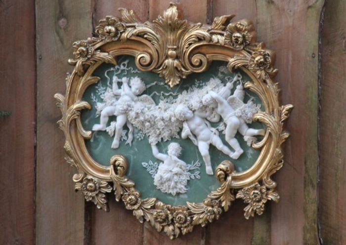 Large format plaque with angels and beautiful flowers (1) - Baroque - Alabaster, Wood