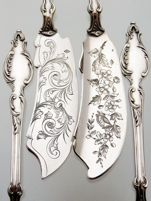 Art Nouveau - Ravinet & D'Enfert * Paris - 8-piece silver oyster cutlery in a box