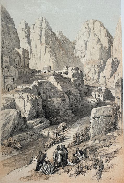 5 prints by David Roberts (1796 – 1864) - Collection prints - The Acropolis, Site of Petra & other