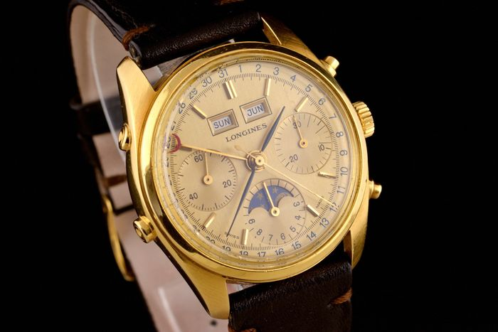 Longines - Extremaly Rare Triple Calendar Moonphase Gold-18K  - 490-3233 - Heren - 1980-1989