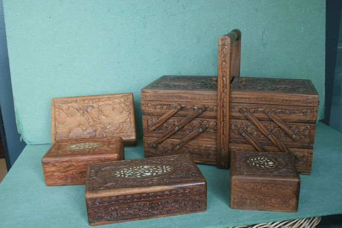 Sewing box and four boxes - Wood- Djati wood