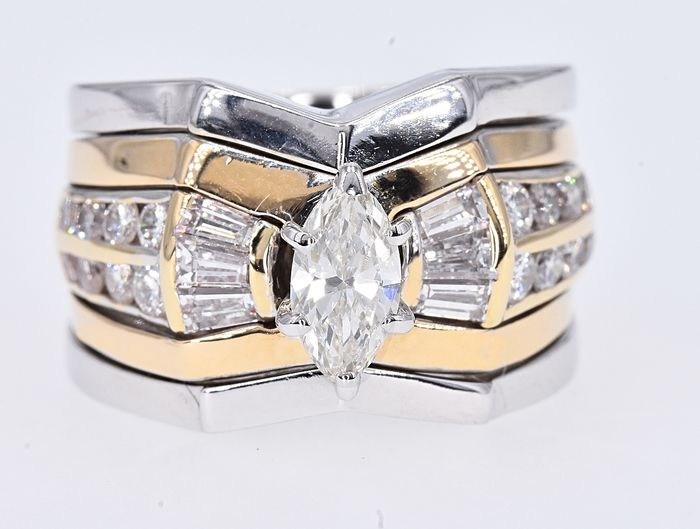 White gold, Yellow gold - Ring - 1.31 ct Diamond