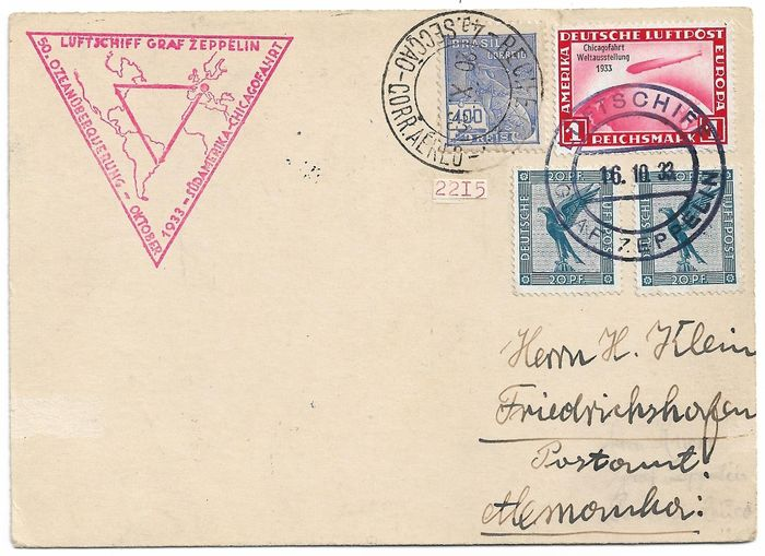 German Empire 1933 - 1933 Zeppelin Sudamerika - Chicagofahrt to Brazil