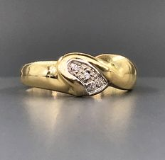 18 quilates Oro amarillo - Anillo - 0.08 ct Diamante