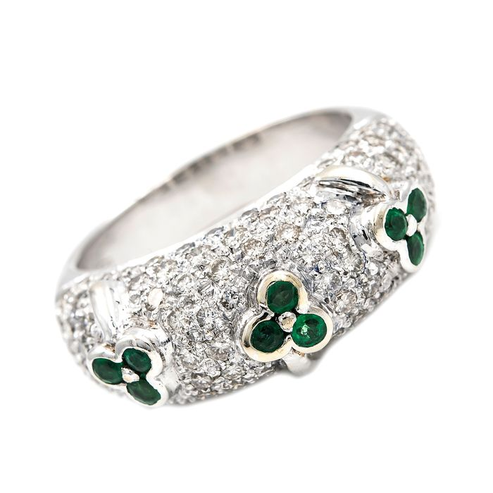 18 kt. Gold, White gold - Ring - 1.30 ct Diamond - Emerald