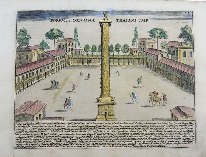 Jacobus Laurus (active 1583-1645) - Folio engraving, hand coloured - Trajan's Forum and Column - Rome - Italy - 1624