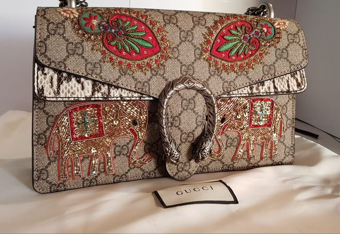 Gucci - GG Supreme Monogram Python Embroidered Dionysus  Crossbody bag