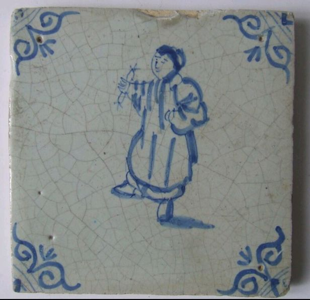 Antique tile with a Sausage saleswoman 17th century - Earthenware