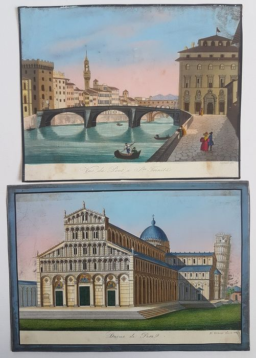 2 hand-coloured etchings by Carocci and Grassi - Florence and Pisa, views