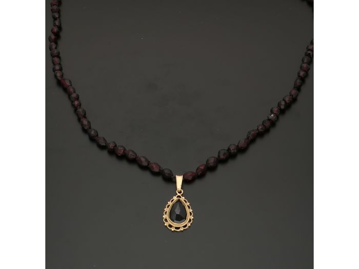 14 carats Or - Collier Grenat