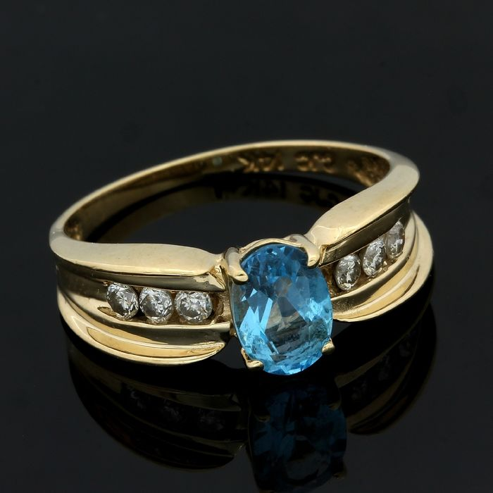 14 kt. Yellow gold - Ring - 1.15 ct Blue Topaz - Diamond
