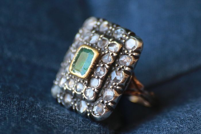 12 carati Yellow gold - Ring - 0.60 ct Emerald - Diamonds